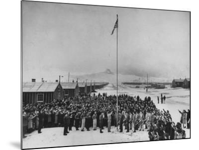 Nisei Japanese Americans Participating in Flag Saluting Ceremony at Relocation Center During WWII-Hansel Mieth-Mounted Photographic Print