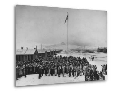 Nisei Japanese Americans Participating in Flag Saluting Ceremony at Relocation Center During WWII-Hansel Mieth-Metal Print