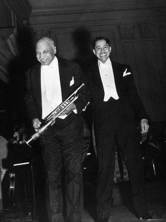 Singer Cab Calloway Standing on Stage with Composer W. C. Handy-Hansel Mieth-Framed Premium Photographic Print