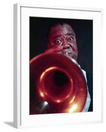 Jazz Musician Louis Armstrong Blowing on Trumpet-Eliot Elisofon-Framed Premium Photographic Print