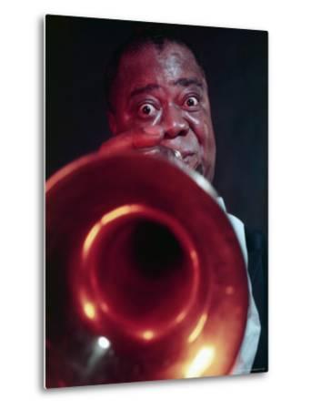 Jazz Musician Louis Armstrong Blowing on Trumpet-Eliot Elisofon-Metal Print