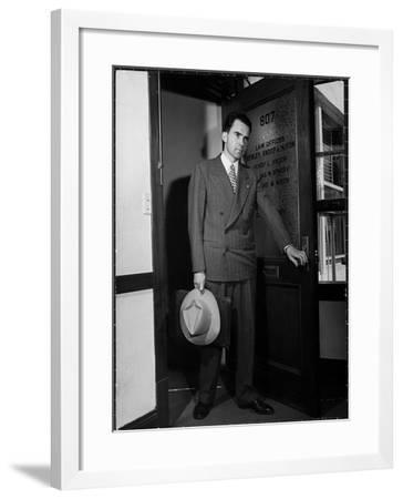 Attorney Richard Nixon in the Doorway of Law Office After Returning From WWII to Resume His Career-George Lacks-Framed Photographic Print