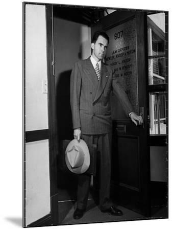 Attorney Richard Nixon in the Doorway of Law Office After Returning From WWII to Resume His Career-George Lacks-Mounted Photographic Print