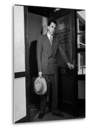 Attorney Richard Nixon in the Doorway of Law Office After Returning From WWII to Resume His Career-George Lacks-Metal Print