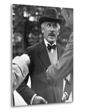 Famous Maestro Arturo Toscanini Stopping in Street and Talking to 2 Men-Alfred Eisenstaedt-Metal Print