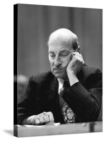 British Pm Clement Attlee Dozing During Campaign Rally-Alfred Eisenstaedt-Stretched Canvas Print