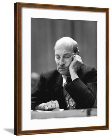 British Pm Clement Attlee Dozing During Campaign Rally-Alfred Eisenstaedt-Framed Premium Photographic Print