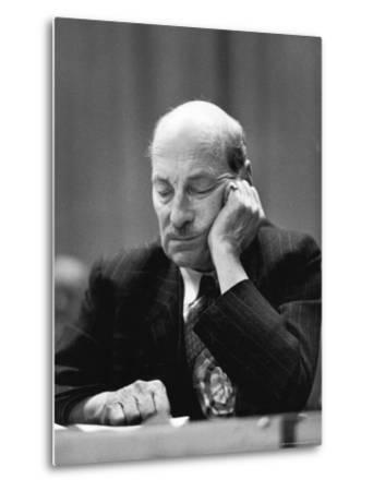 British Pm Clement Attlee Dozing During Campaign Rally-Alfred Eisenstaedt-Metal Print