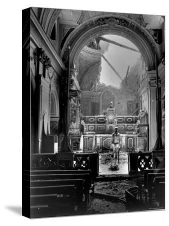 Pvt. Paul Oglesby, 30th Infantry, Standing in Reverence Before Altar in Damaged Catholic Church- Benson-Stretched Canvas Print