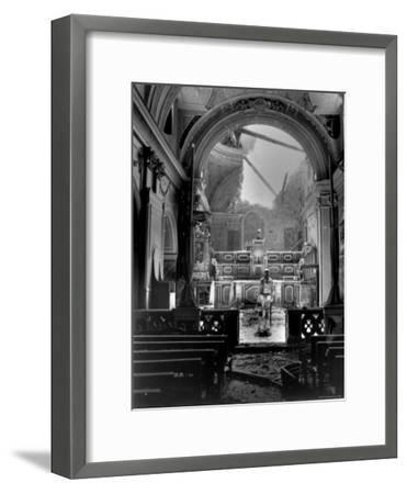 Pvt. Paul Oglesby, 30th Infantry, Standing in Reverence Before Altar in Damaged Catholic Church- Benson-Framed Photographic Print