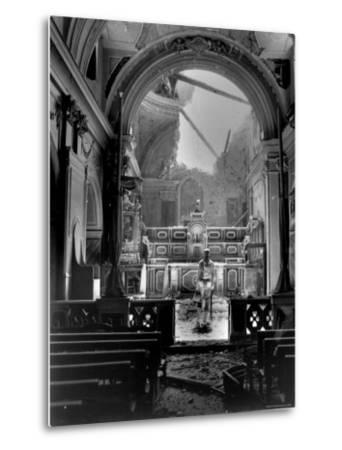 Pvt. Paul Oglesby, 30th Infantry, Standing in Reverence Before Altar in Damaged Catholic Church- Benson-Metal Print