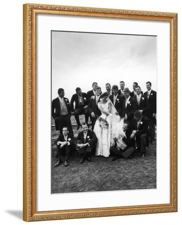 Sen. John F. Kennedy and His Bride Jacqueline Posing with 14 Ushers from Their Wedding Party-Lisa Larsen-Framed Photographic Print