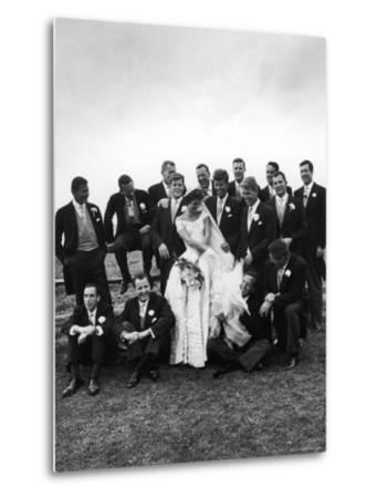 Sen. John F. Kennedy and His Bride Jacqueline Posing with 14 Ushers from Their Wedding Party-Lisa Larsen-Metal Print