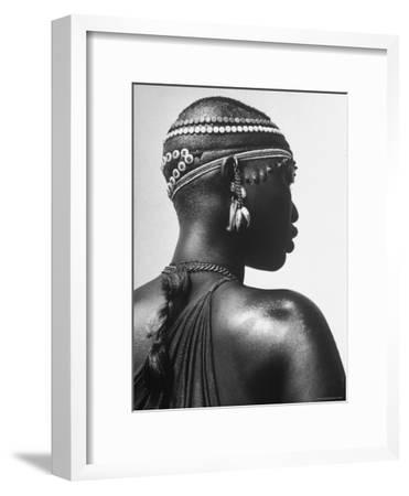 Shilluk Tribe Girl Wearing Decorative Beaded Head Gear in Sudd Region of the Upper Nile, Sudan-Eliot Elisofon-Framed Photographic Print