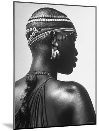 Shilluk Tribe Girl Wearing Decorative Beaded Head Gear in Sudd Region of the Upper Nile, Sudan-Eliot Elisofon-Mounted Photographic Print