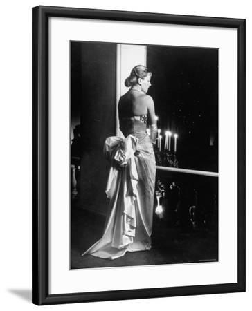 Mme. Jacques Fath Wearing Dress Designed by Her Husband for Their American Tour-Nina Leen-Framed Premium Photographic Print