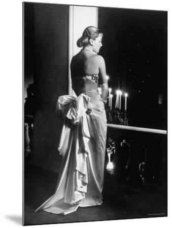 Mme. Jacques Fath Wearing Dress Designed by Her Husband for Their American Tour-Nina Leen-Mounted Premium Photographic Print