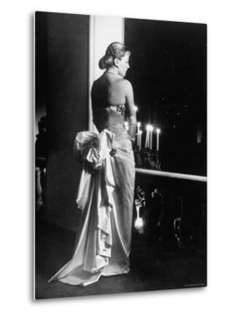 Mme. Jacques Fath Wearing Dress Designed by Her Husband for Their American Tour-Nina Leen-Metal Print