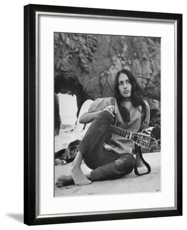 Folk Singer Joan Baez on the Beach with Guitar Near Her Home-Ralph Crane-Framed Premium Photographic Print