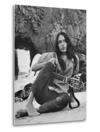 Folk Singer Joan Baez on the Beach with Guitar Near Her Home-Ralph Crane-Metal Print