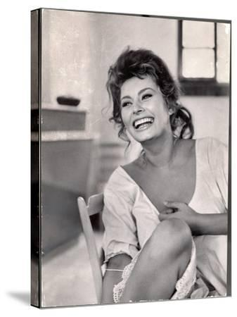 Actress Sophia Loren Laughing While Exchanging Jokes During Lunch Break on Madame Movie Set-Alfred Eisenstaedt-Stretched Canvas Print