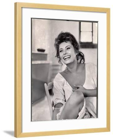Actress Sophia Loren Laughing While Exchanging Jokes During Lunch Break on Madame Movie Set-Alfred Eisenstaedt-Framed Premium Photographic Print