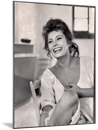 Actress Sophia Loren Laughing While Exchanging Jokes During Lunch Break on Madame Movie Set-Alfred Eisenstaedt-Mounted Premium Photographic Print