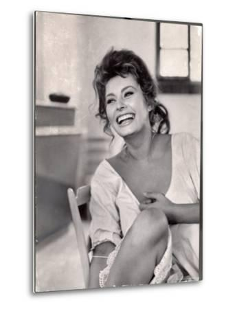 Actress Sophia Loren Laughing While Exchanging Jokes During Lunch Break on Madame Movie Set-Alfred Eisenstaedt-Metal Print