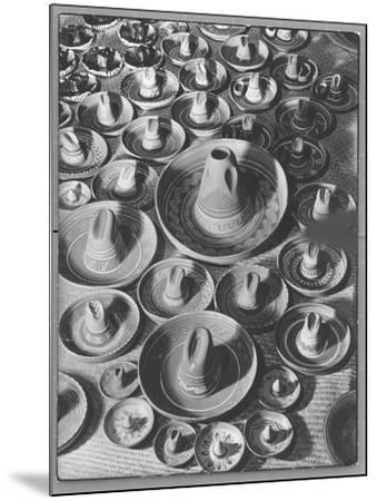 Display of Sombrero Ashtrays Hand Painted by Mexican Natives for Sale at Macy's Department Store-Margaret Bourke-White-Mounted Photographic Print
