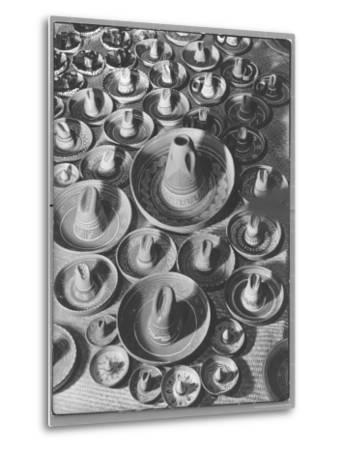 Display of Sombrero Ashtrays Hand Painted by Mexican Natives for Sale at Macy's Department Store-Margaret Bourke-White-Metal Print