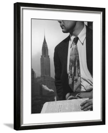 Male Model Wearing the Latest Trend with a photogrpahic fabric rendition-Nina Leen-Framed Photographic Print
