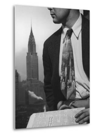 Male Model Wearing the Latest Trend with a photogrpahic fabric rendition-Nina Leen-Metal Print