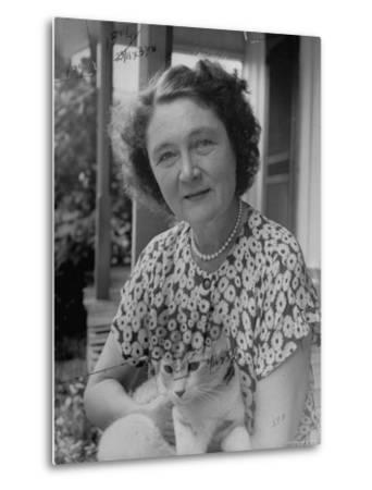 Novelist Marjorie K. Rawlings Holding Her Cat-Nina Leen-Metal Print