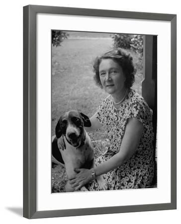Novelist Marjorie K. Rawlings Petting Her Dog-Nina Leen-Framed Premium Photographic Print