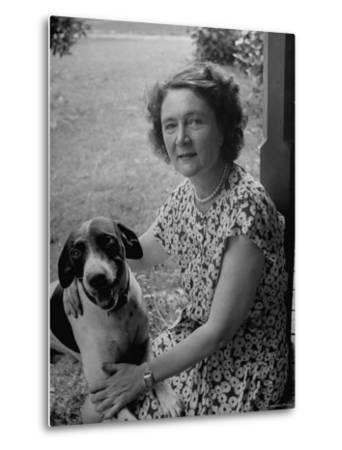 Novelist Marjorie K. Rawlings Petting Her Dog-Nina Leen-Metal Print
