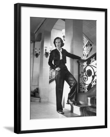 Mrs. Phillip Isles Wearing Bull Fighter Pajamas with Bolera Jacket-Nina Leen-Framed Premium Photographic Print