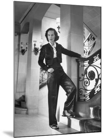 Mrs. Phillip Isles Wearing Bull Fighter Pajamas with Bolera Jacket-Nina Leen-Mounted Premium Photographic Print
