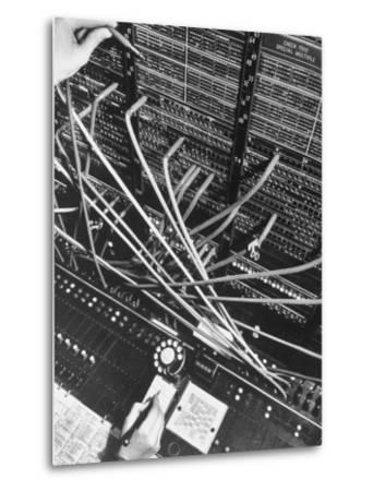 Telephone Operator's Hand Writing on Notepad in New York Telephone Co. Office-Margaret Bourke-White-Metal Print