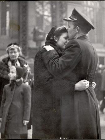 Soldier Tenderly Kissing His Girlfriend's Forehead as She Embraces Him While Saying Goodbye-Alfred Eisenstaedt-Framed Photographic Print