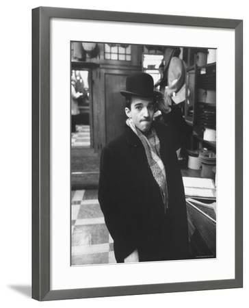 Dubious Look Displayed by Russian Pianist Vladimir Ashkenazy as He Tries an English Bowler-Ralph Crane-Framed Premium Photographic Print