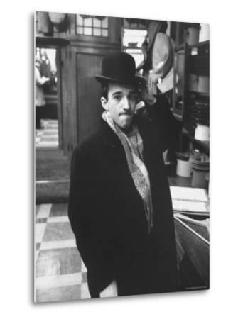 Dubious Look Displayed by Russian Pianist Vladimir Ashkenazy as He Tries an English Bowler-Ralph Crane-Metal Print