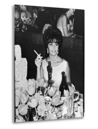 Actress Elizabeth Taylor at Hollywood Party After Winning Oscar, Which is on Table in Front of Her-Allan Grant-Metal Print