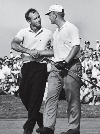 Golfer Jack Nicklaus and Arnold Palmer During National Open Tournament-John Dominis-Premium Photographic Print