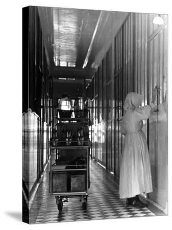 Nurse Distributing Meals in Diphtheria Section of Contagious Disease Hospital at Pasteur Institute--Stretched Canvas Print