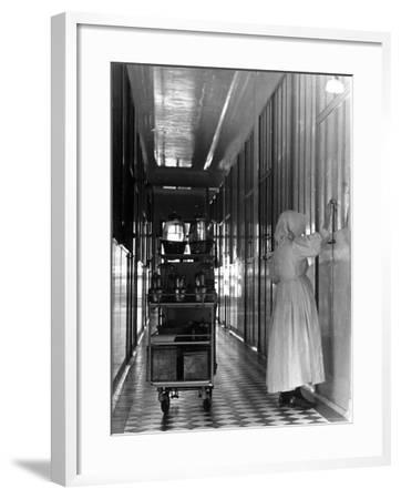 Nurse Distributing Meals in Diphtheria Section of Contagious Disease Hospital at Pasteur Institute--Framed Photographic Print