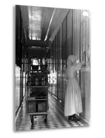 Nurse Distributing Meals in Diphtheria Section of Contagious Disease Hospital at Pasteur Institute--Metal Print