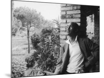 Author Ralph Ellison Against Brick Wall at American Academy on Rome Fellowship in Literature-James Whitmore-Mounted Premium Photographic Print