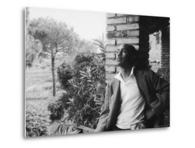Author Ralph Ellison Against Brick Wall at American Academy on Rome Fellowship in Literature-James Whitmore-Metal Print