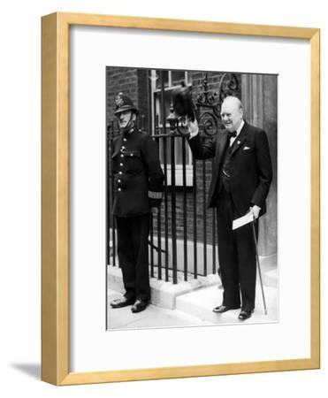 British Prime Minister Winston Churchill Doffing Hat Outside of 10 Downing St--Framed Premium Photographic Print