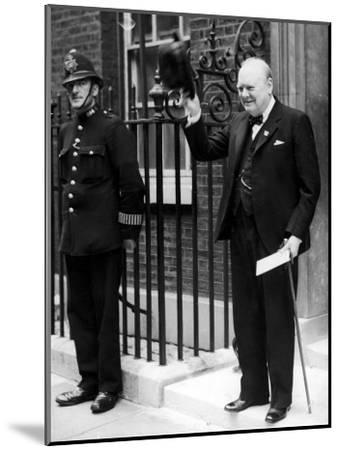 British Prime Minister Winston Churchill Doffing Hat Outside of 10 Downing St--Mounted Premium Photographic Print
